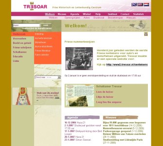 Screenshot van de website van Tresoar